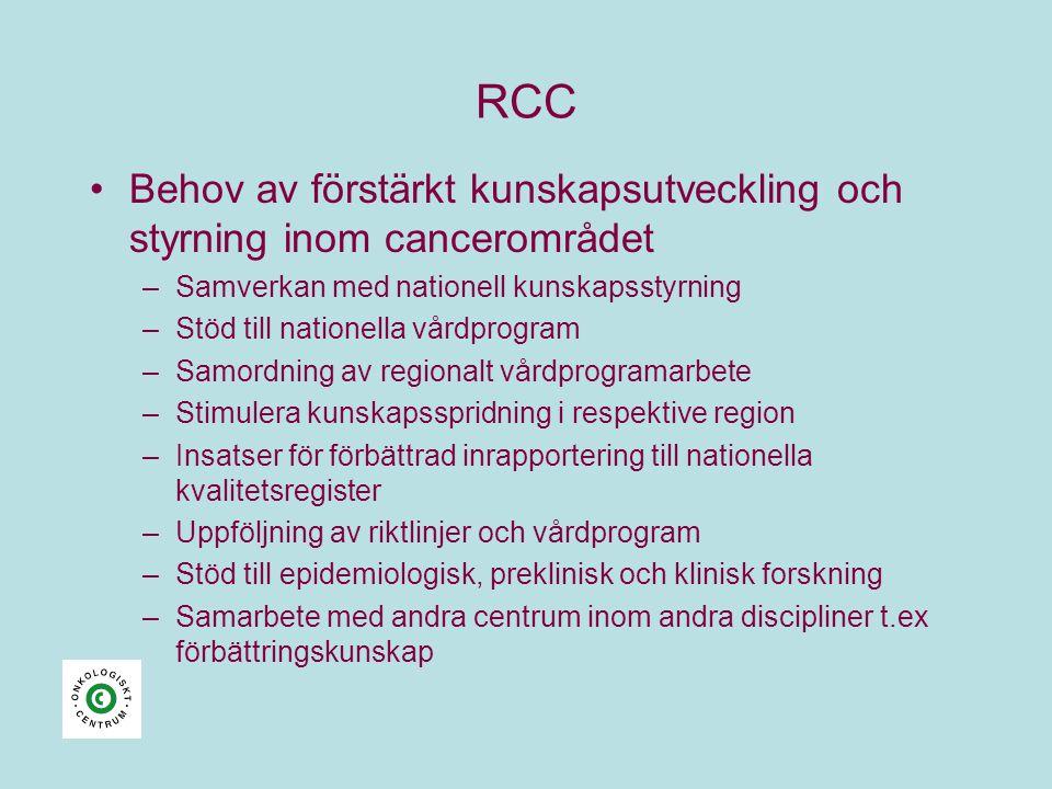 RCC Behov av förstärkt kunskapsutveckling och styrning inom cancerområdet. Samverkan med nationell kunskapsstyrning.