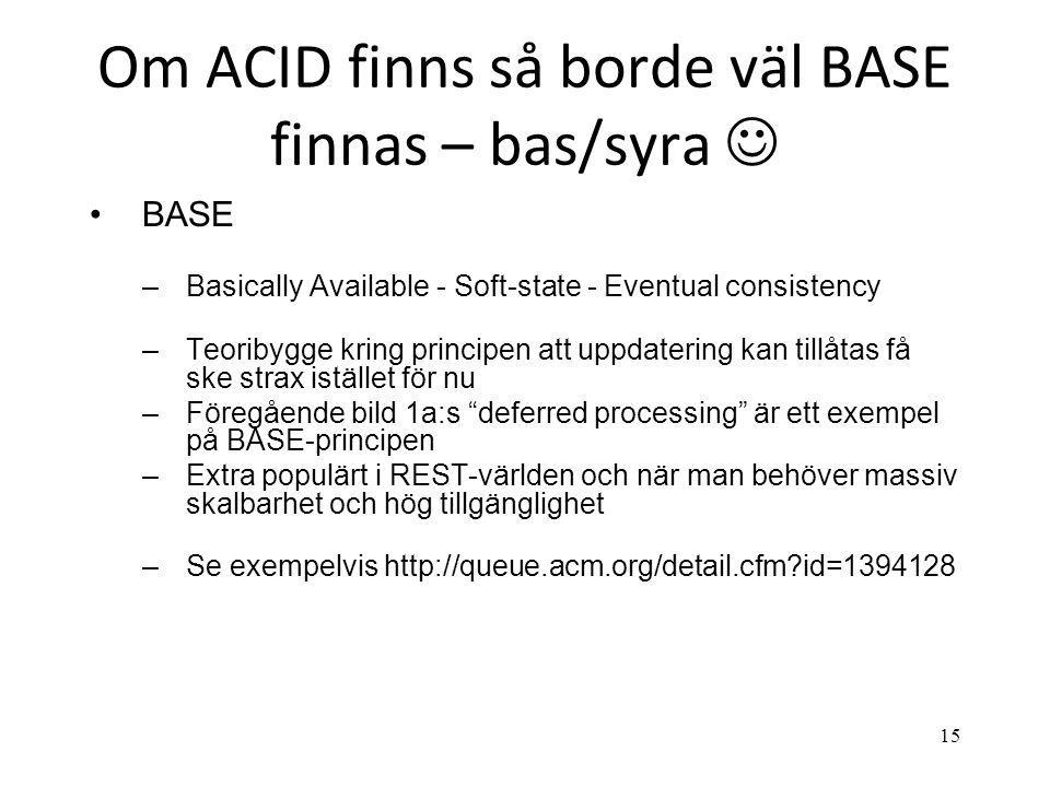 Om ACID finns så borde väl BASE finnas – bas/syra 