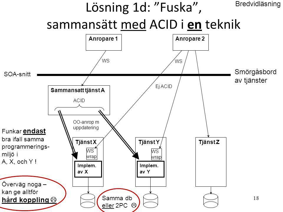 Lösning 1d: Fuska , sammansätt med ACID i en teknik