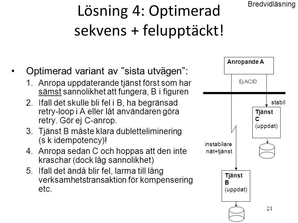 Lösning 4: Optimerad sekvens + felupptäckt!