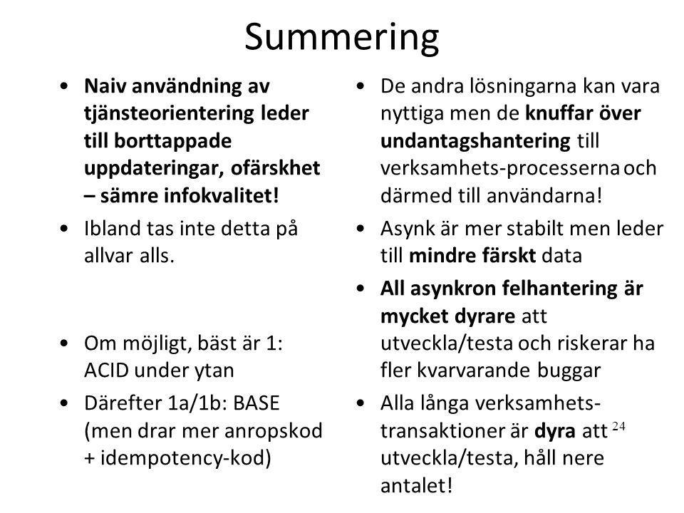 Summering Naiv användning av tjänsteorientering leder till borttappade uppdateringar, ofärskhet – sämre infokvalitet!