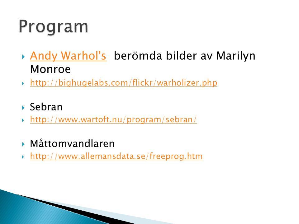 Program Andy Warhol s berömda bilder av Marilyn Monroe Sebran