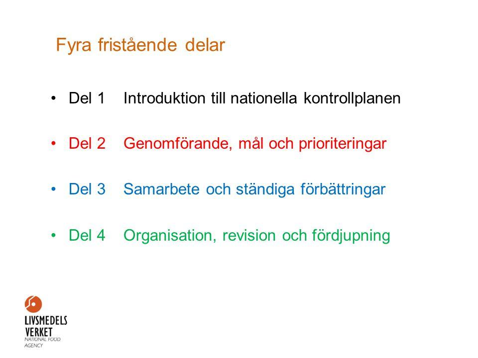 Fyra fristående delar Del 1 Introduktion till nationella kontrollplanen. Del 2 Genomförande, mål och prioriteringar.