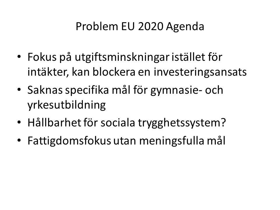 Problem EU 2020 Agenda Fokus på utgiftsminskningar istället för intäkter, kan blockera en investeringsansats.