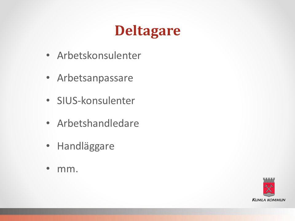 Deltagare Arbetskonsulenter Arbetsanpassare SIUS-konsulenter