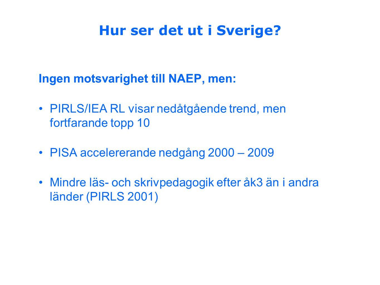 Hur ser det ut i Sverige Ingen motsvarighet till NAEP, men: