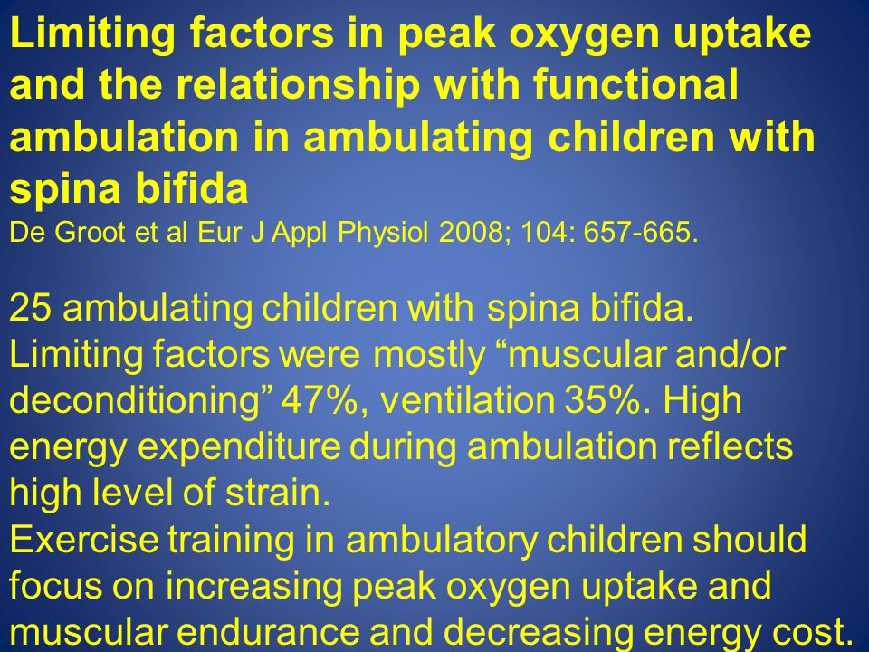 Limiting factors in peak oxygen uptake and the relationship with functional ambulation in ambulating children with spina bifida