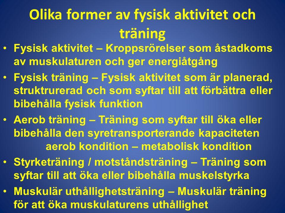 Olika former av fysisk aktivitet och träning