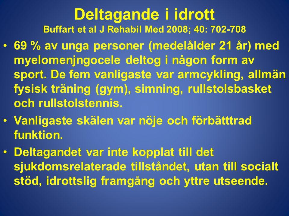 Deltagande i idrott Buffart et al J Rehabil Med 2008; 40: 702-708