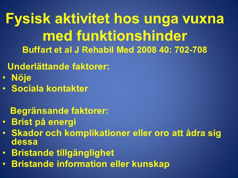 Fysisk aktivitet hos unga vuxna med funktionshinder Buffart et al J Rehabil Med 2008 40: 702-708