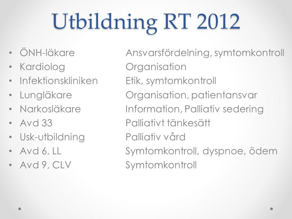 Utbildning RT 2012 ÖNH-läkare Ansvarsfördelning, symtomkontroll