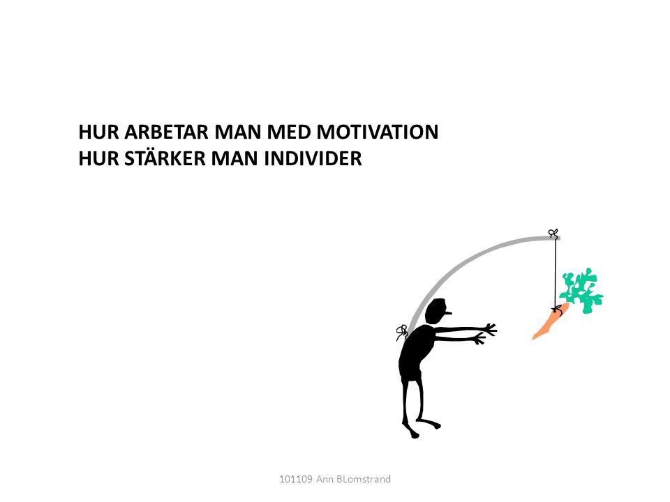 HUR ARBETAR MAN MED MOTIVATION HUR STÄRKER MAN INDIVIDER