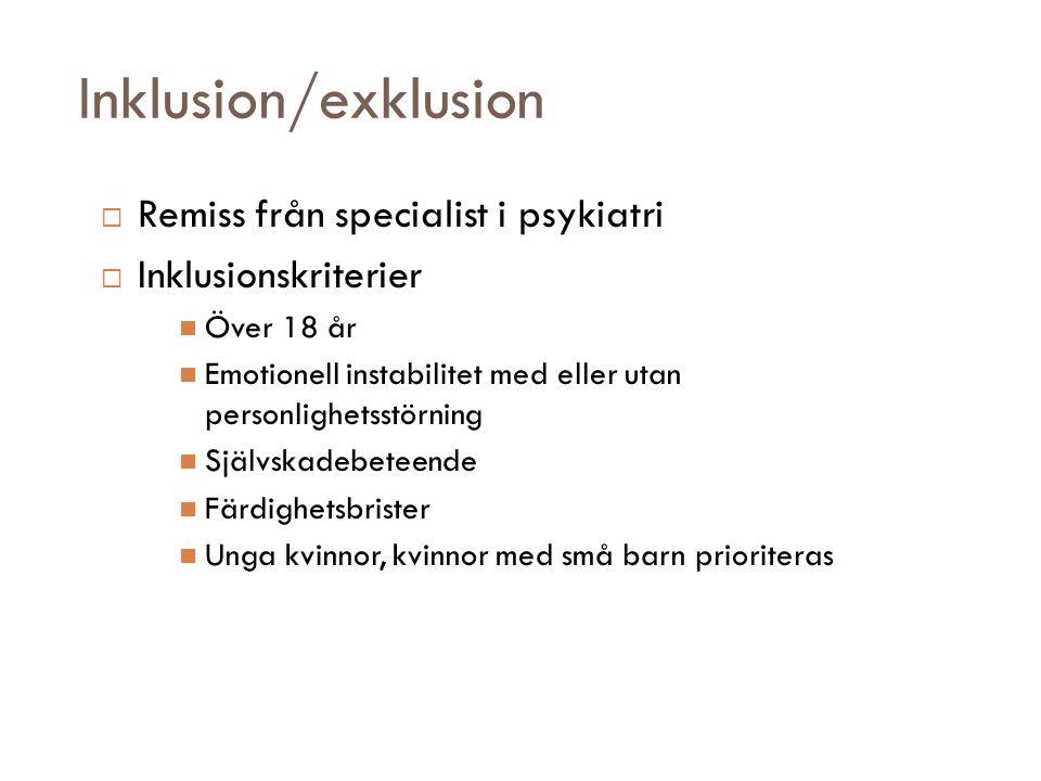 Inklusion/exklusion Remiss från specialist i psykiatri