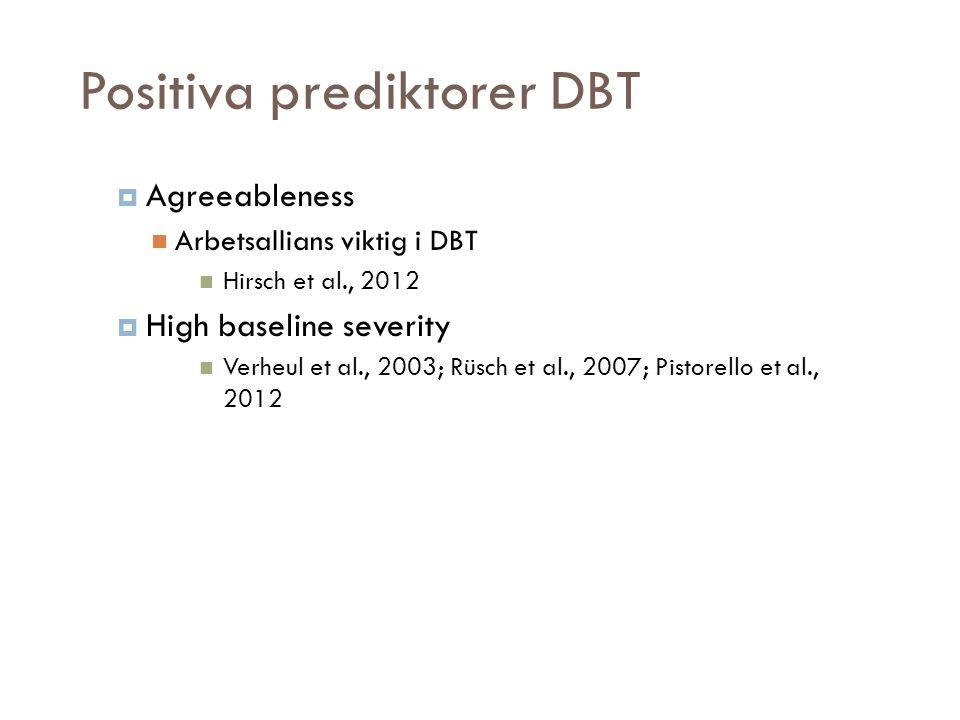 Positiva prediktorer DBT