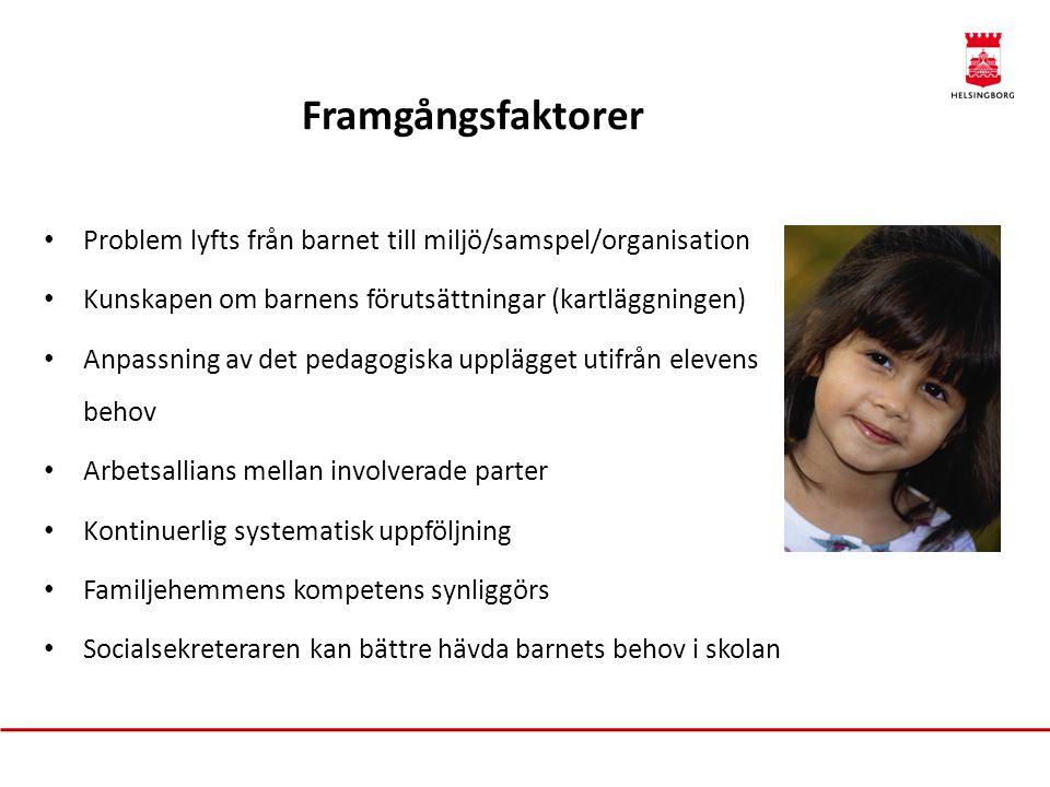 Framgångsfaktorer Problem lyfts från barnet till miljö/samspel/organisation. Kunskapen om barnens förutsättningar (kartläggningen)