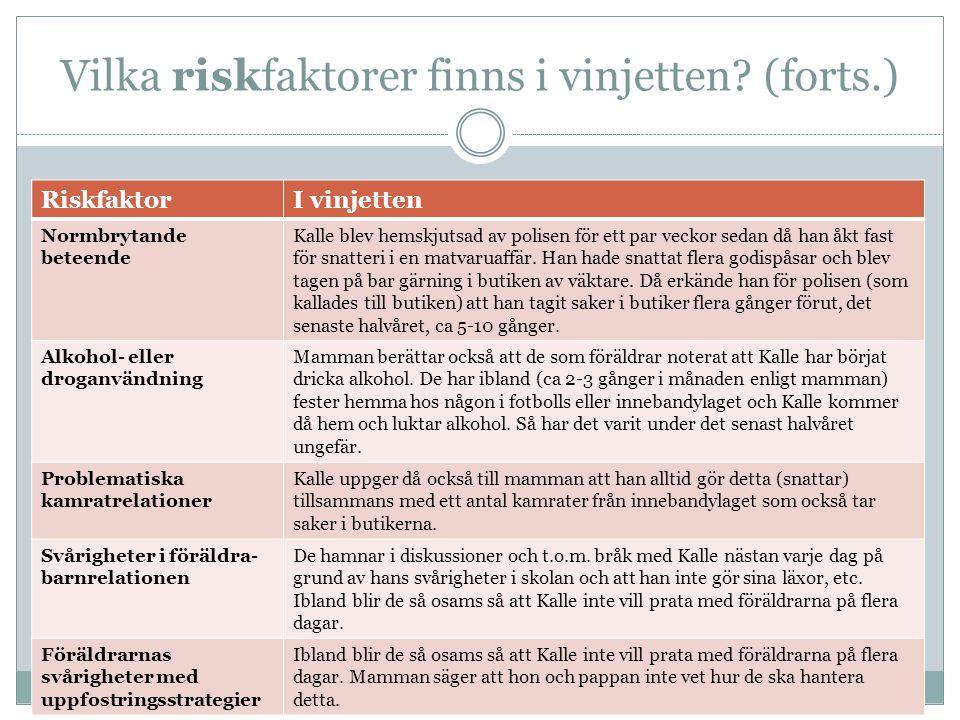 Vilka riskfaktorer finns i vinjetten (forts.)