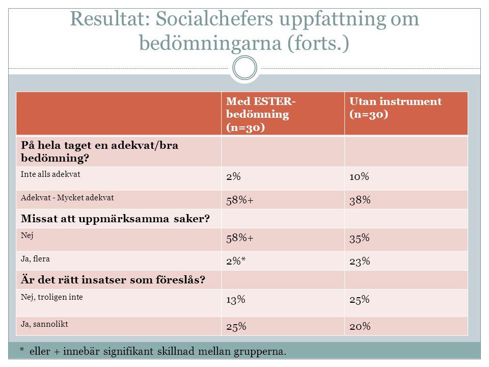 Resultat: Socialchefers uppfattning om bedömningarna (forts.)