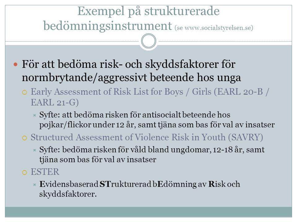 Exempel på strukturerade bedömningsinstrument (se www. socialstyrelsen