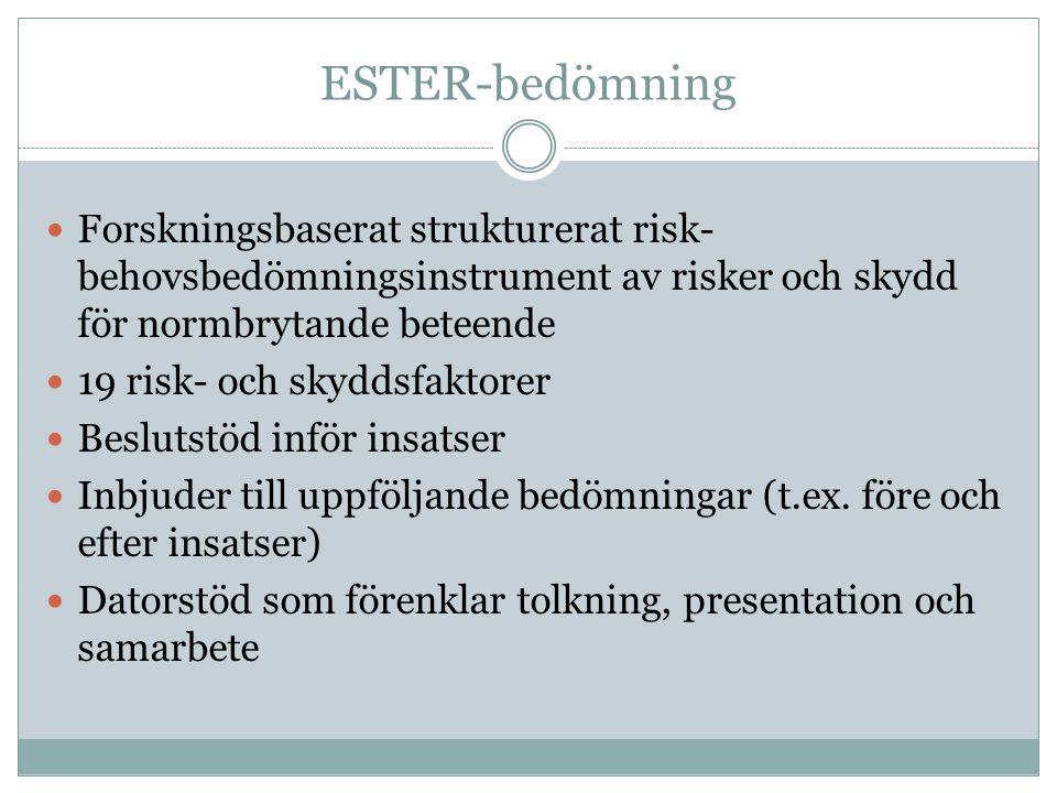 ESTER-bedömning Forskningsbaserat strukturerat risk-behovsbedömningsinstrument av risker och skydd för normbrytande beteende.