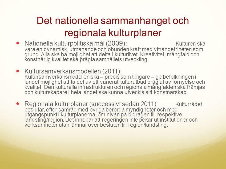 Det nationella sammanhanget och regionala kulturplaner