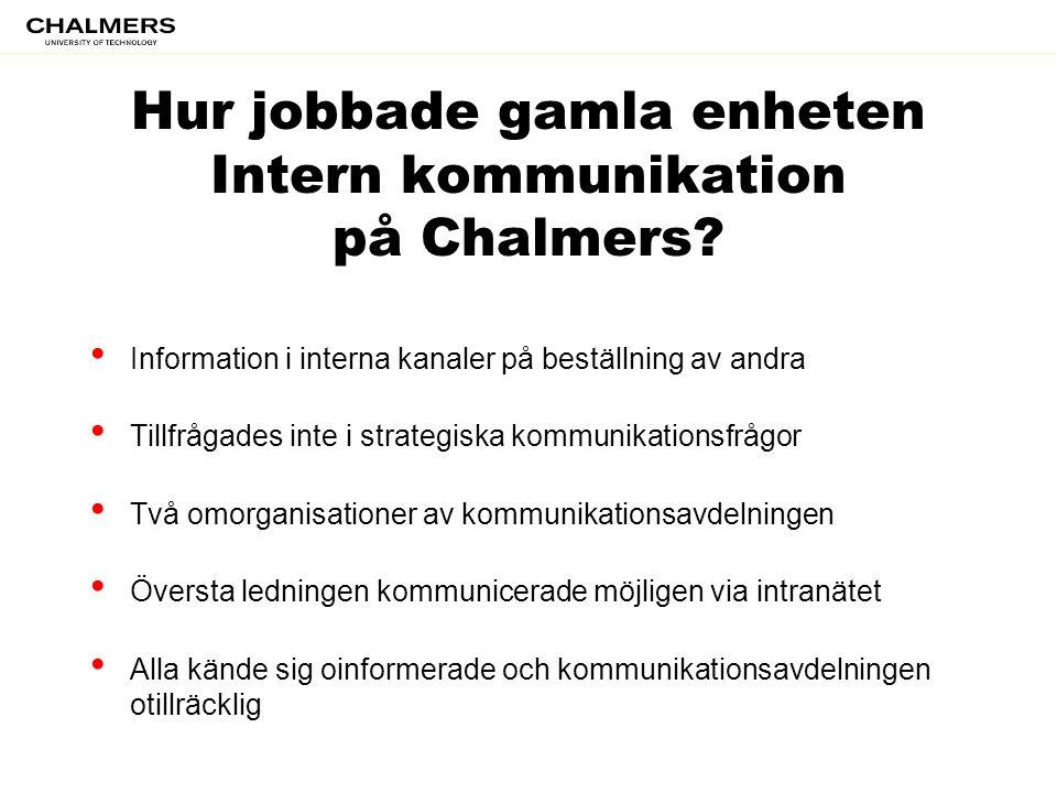 Hur jobbade gamla enheten Intern kommunikation på Chalmers