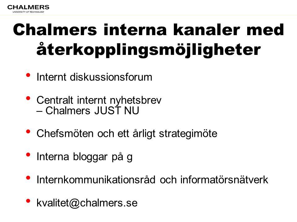 Chalmers interna kanaler med återkopplingsmöjligheter