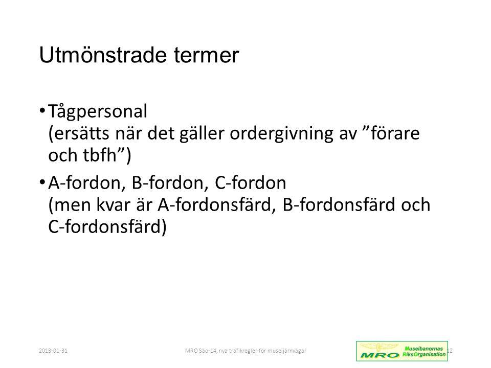 MRO Säo-14, nya trafikregler för museijärnvägar