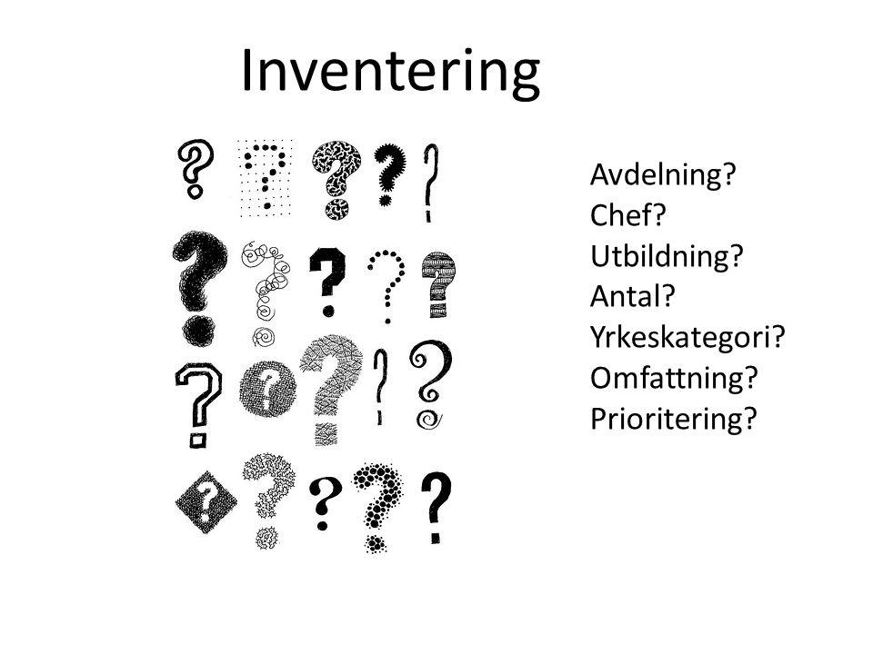 Inventering Avdelning Chef Utbildning Antal Yrkeskategori