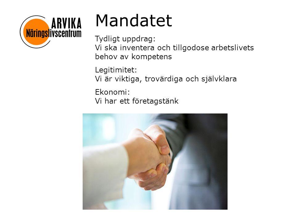Mandatet Tydligt uppdrag: Vi ska inventera och tillgodose arbetslivets behov av kompetens.