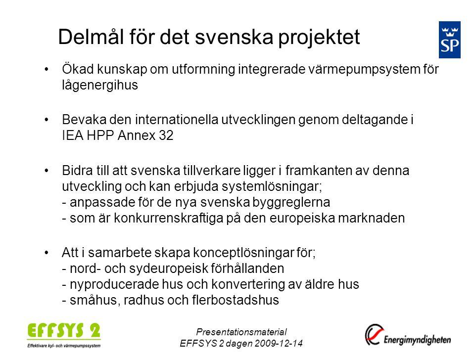 Delmål för det svenska projektet