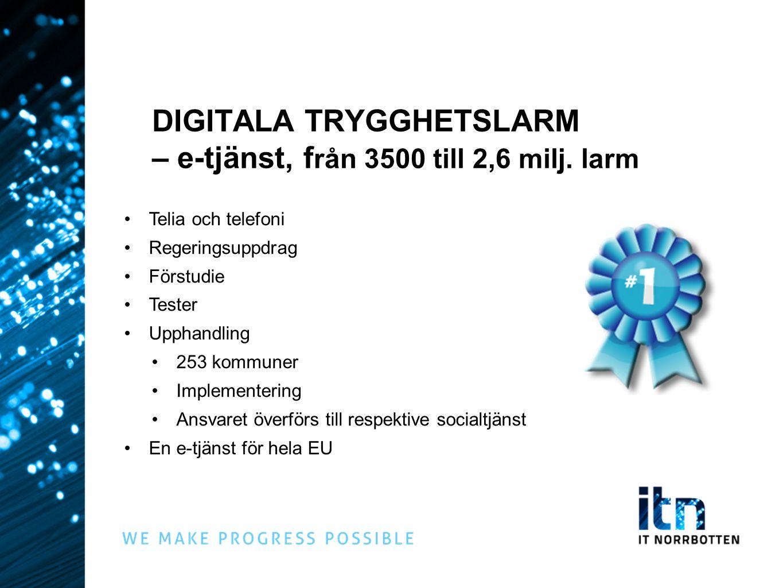 DIGITALA TRYGGHETSLARM – e-tjänst, från 3500 till 2,6 milj. larm