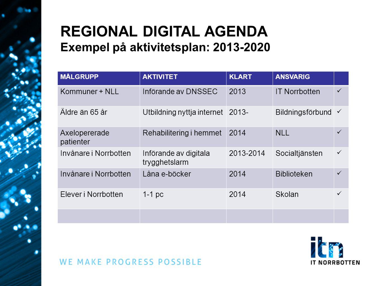 REGIONAL DIGITAL AGENDA Exempel på aktivitetsplan: 2013-2020