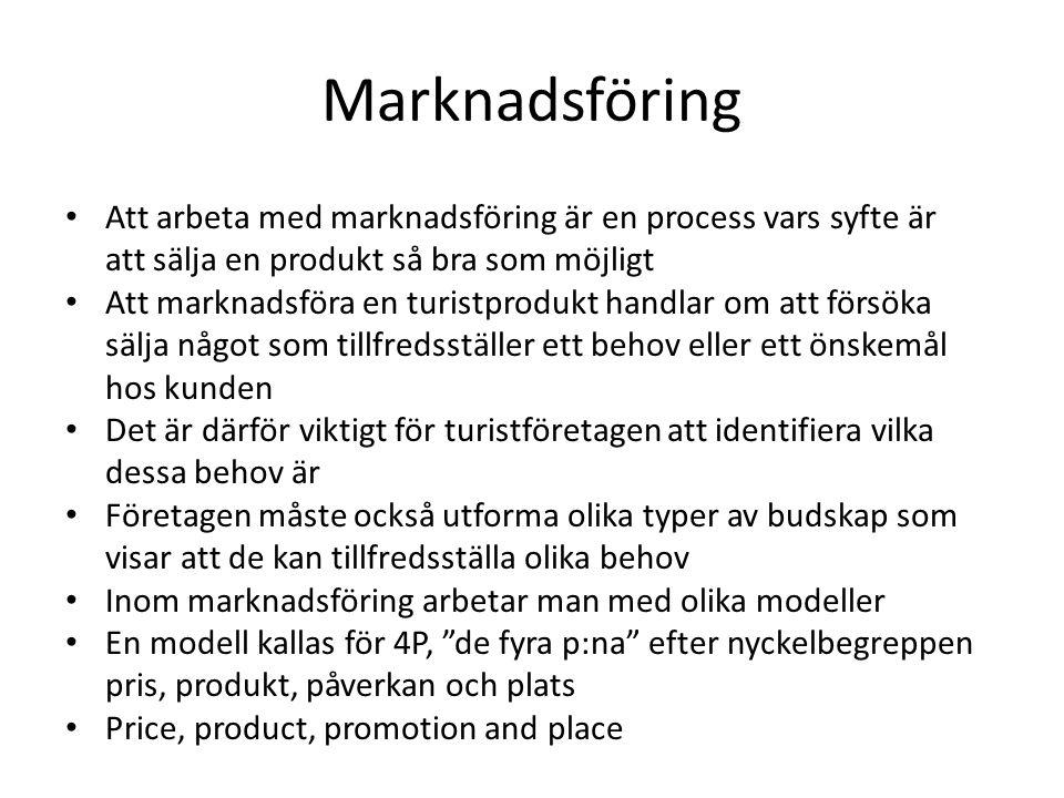 Marknadsföring Att arbeta med marknadsföring är en process vars syfte är att sälja en produkt så bra som möjligt.