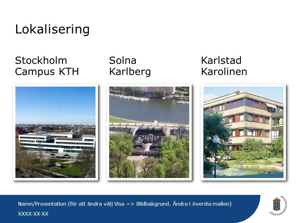 Lokalisering Stockholm Campus KTH Solna Karlberg Karlstad Karolinen