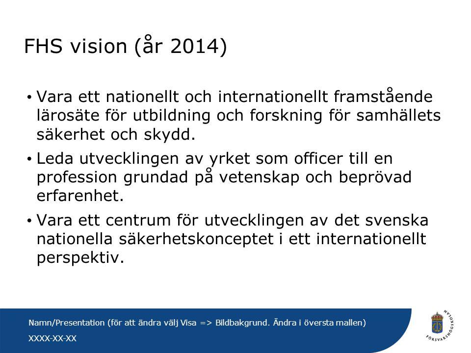 FHS vision (år 2014) Vara ett nationellt och internationellt framstående lärosäte för utbildning och forskning för samhällets säkerhet och skydd.