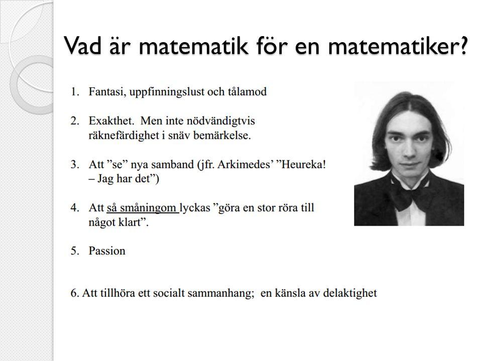 Vad är matematik för en matematiker