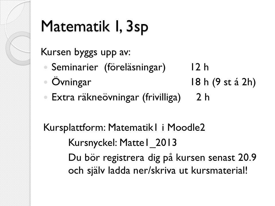 Matematik I, 3sp Kursen byggs upp av: Seminarier (föreläsningar) 12 h