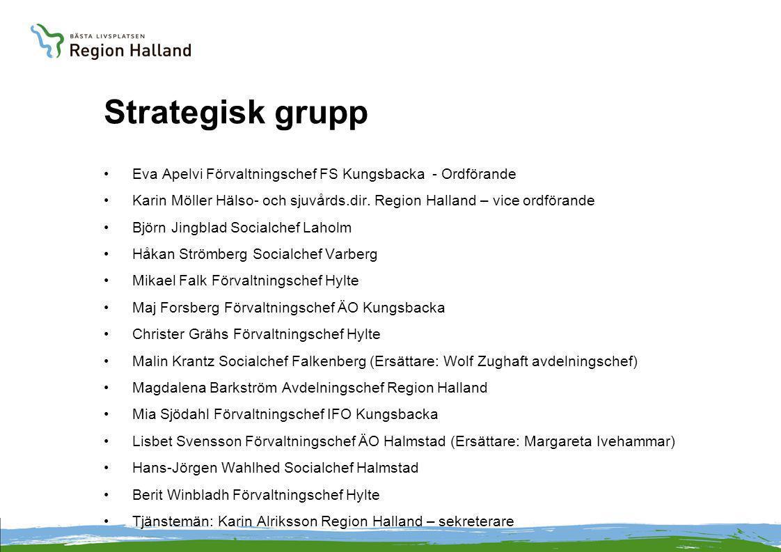 Strategisk grupp Eva Apelvi Förvaltningschef FS Kungsbacka - Ordförande. Karin Möller Hälso- och sjuvårds.dir. Region Halland – vice ordförande.