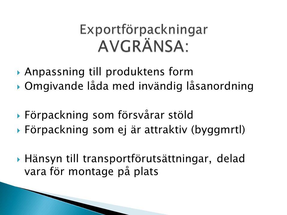 Exportförpackningar AVGRÄNSA:
