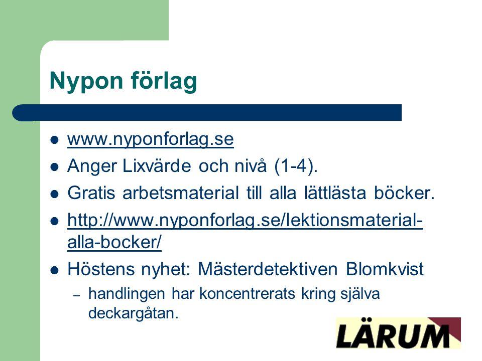 Nypon förlag www.nyponforlag.se Anger Lixvärde och nivå (1-4).