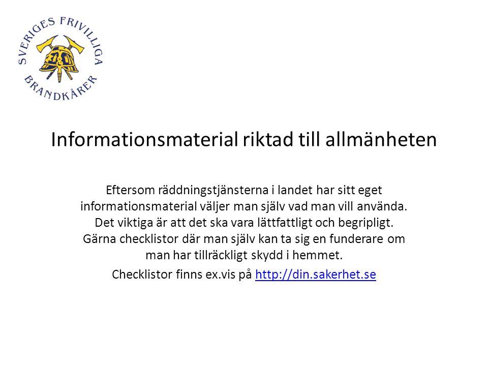 Informationsmaterial riktad till allmänheten