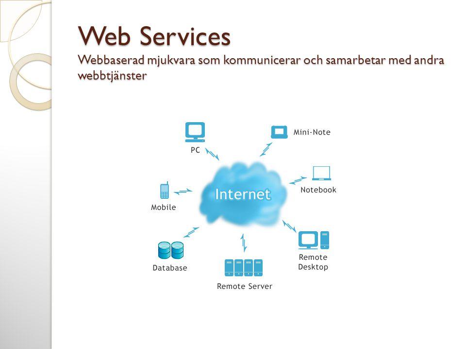 Web Services Webbaserad mjukvara som kommunicerar och samarbetar med andra webbtjänster