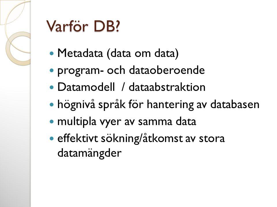 Varför DB Metadata (data om data) program- och dataoberoende
