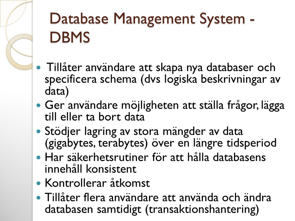 Database Management System - DBMS