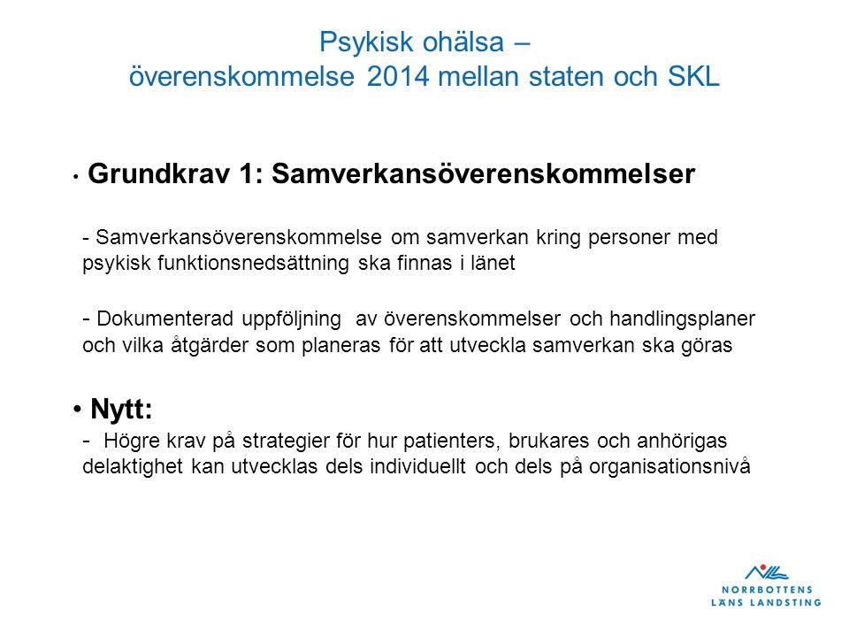 Psykisk ohälsa – överenskommelse 2014 mellan staten och SKL