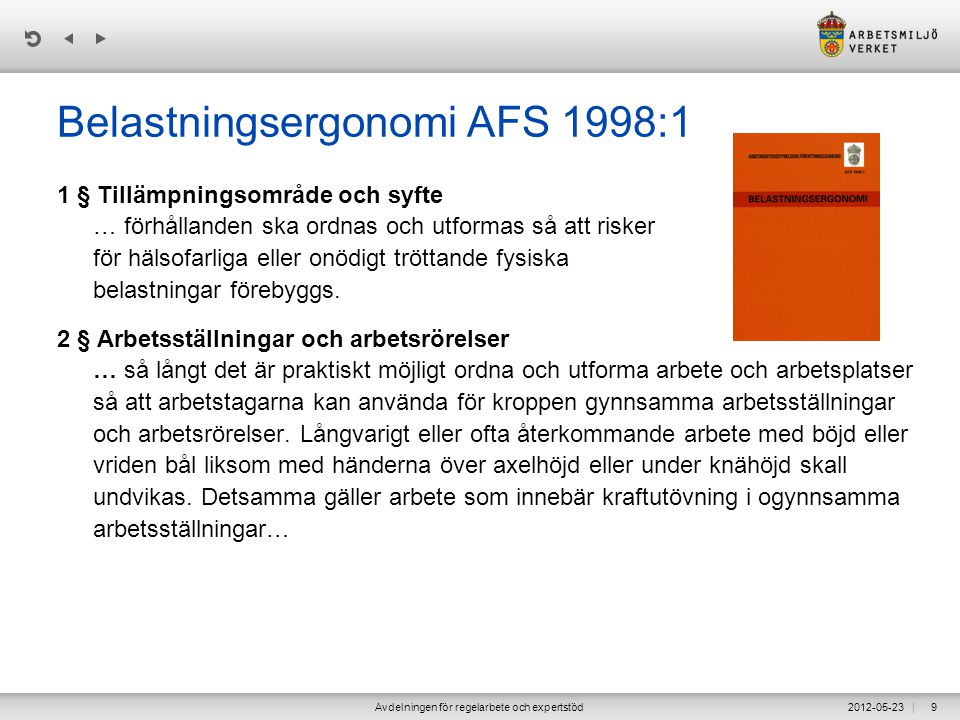 Belastningsergonomi AFS 1998:1