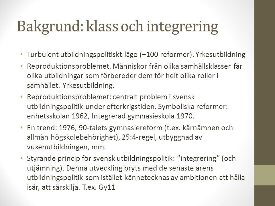 Bakgrund: klass och integrering