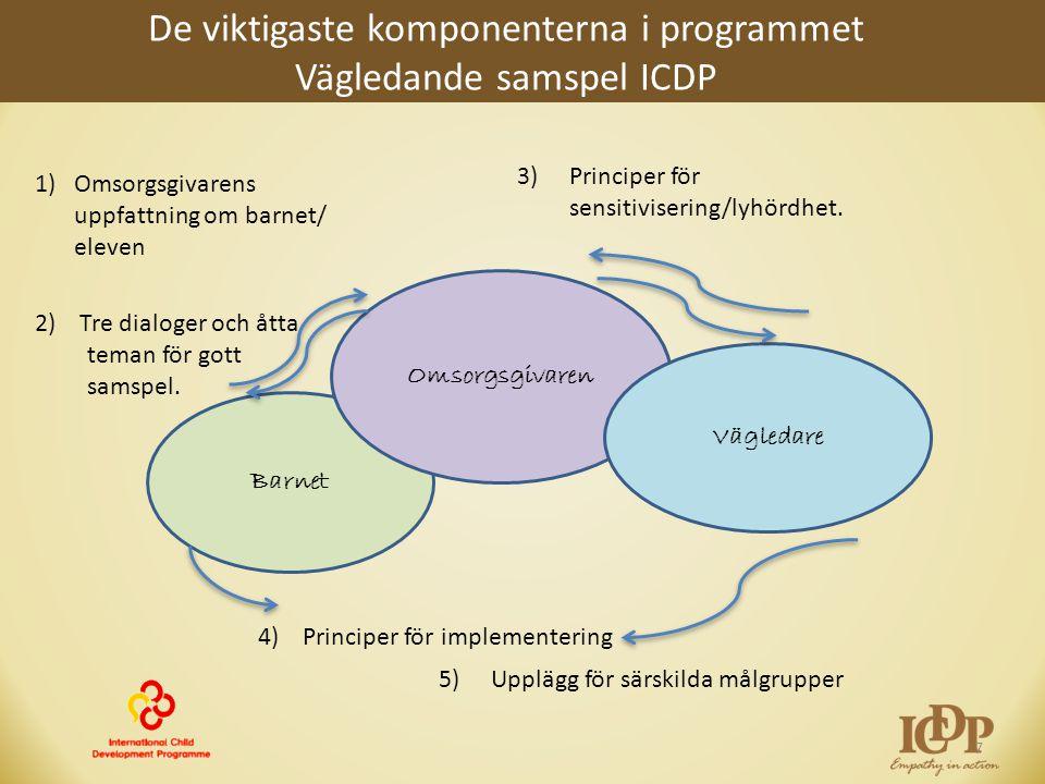 De viktigaste komponenterna i programmet Vägledande samspel ICDP