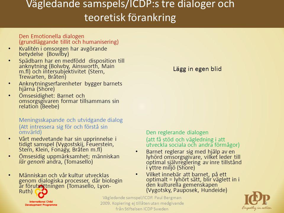 Vägledande samspels/ICDP:s tre dialoger och teoretisk förankring