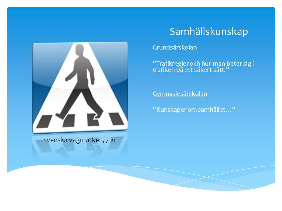 Samhällskunskap Svenska vägmärken, 7 kr Grundsärskolan